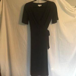 Simple black wrap dress.